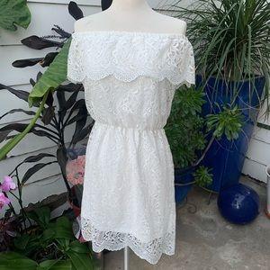 Ci Sono White Lace Off Shoulder Dress Size Medium